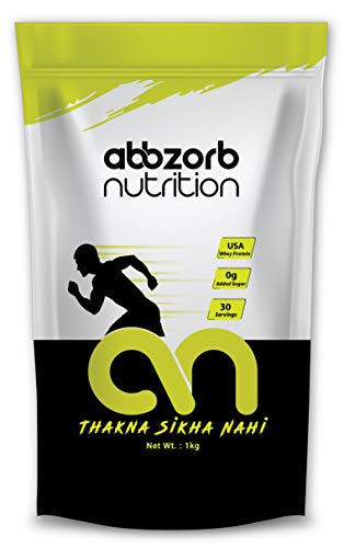 Abbzorb Nutrition Raw plus Whey Protein 80% 26.4g Protein   5.6g BCAA 30 Servings with Digestive Enzymes (Unflavoured) (1 Kg Refill Pack)
