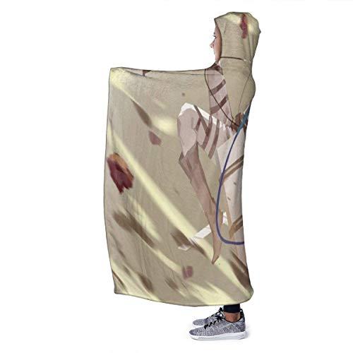 zhengdengshuibaihuodian Cartoon Anime Attack Titan Hooded Blanket Übergroße warme Decke für Erwachsene mit weichem Anti-Pilling-Flanell für Erwachsene und Kinder 3D-Druck 60 x 50 Zoll