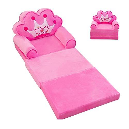 Plush Foldable Kids Sofa Backrest Chair Children's Flip Open Sofa Bed Kids Upholstered Foam Chair Recliner Cute Seats Soft Toddler Cartoon Armchair (Pink)