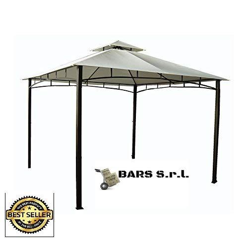 Bars EASYSHOP Gazebo da Giardino 3 X 4 con Telo Impermeabile Ecrù in Metallo e Ferro Grigio Antiruggine e Doppio Tetto Anti Vento Pali Portanti 6x6 cm