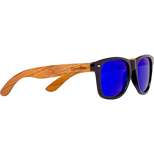 Woodies Zebra Wood Sunglasses with Mirror Polarized Lens for Men and Women (Blue)