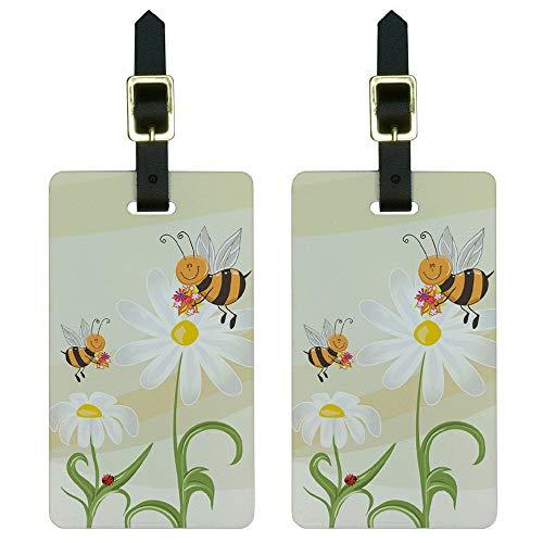 Set di 2 etichette per bagagli, motivo: Bumble Bees e coccinelle su margherite, con fiori