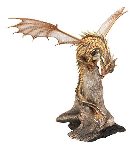 Ebros Gift Gold Battle Hardened Desert Pterosaur Dinosaur Dragon Perching On Rock Statue Fantasy Art Age of Dragons and Dungeons Decor Figurine