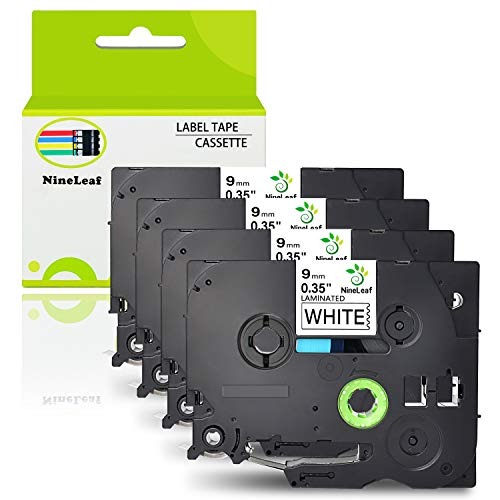 NineLeaf 4 Pack Replacement TZe-221 TZ-221 TZ221 Label Tape Black on White Standard Laminated Tapes 9mm Compatible for Brother P-Touch PT-D210 PTD400AD PTH110 Labeler Label Maker 0.35 Inch x 26.2 Feet