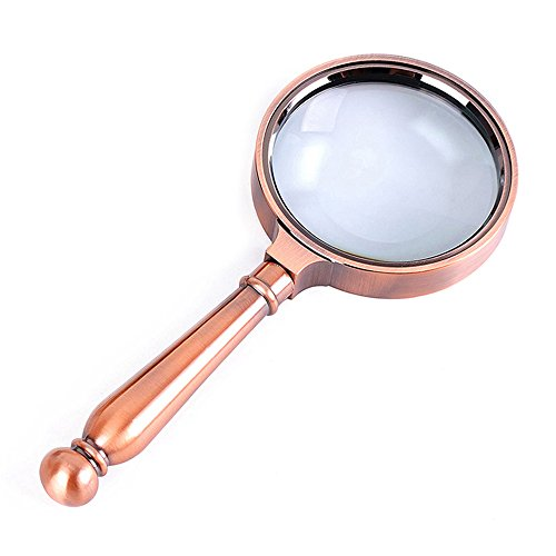 Lupa Lupa, Aumento 8 Veces, Lupa De Mano Mango De Bronce De Metal, Imágenes De Vidrio Óptico Claro para Los Ancianos para Leer Los Periódicos Diámetro De La Lente: 70 Mm