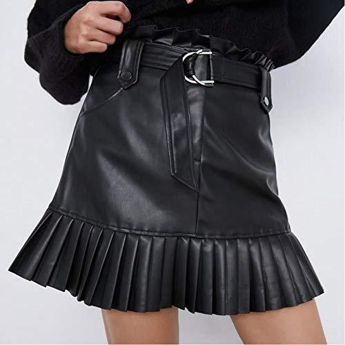 pequeño y compacto LJLLINGA Falda con volantes de cintura alta, minifalda corta Cinturón sexy falda negra con falda…