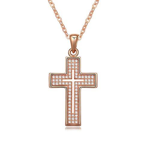 NSXLSCL Vrouwen Hanger Ketting, Eenvoudige Cross Vorm Ingelegd Met Zirkoon Rose Goud Hanger Ketting, Voor Vrouwen Sieraden
