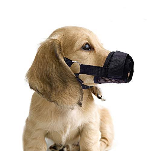 QiCheng&LYS Haustier Hund-Sitzbezüge mit atmungsaktivem Nylon Mesh intimklopfer Anti-Biting bellenden Hunde-Maske, verstellbar, 5 Farben erhältlich (S, Schwar)