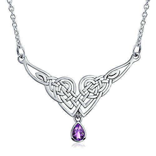 Amethyst Träne Irisch Keltisch Liebe Knoten Triquetra Trinity Erklärung V Halsband Collier Halskette Damen 925 Silber