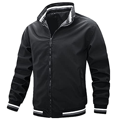 Giacca di volo maschile giacca uomo stand collare maschile giacca pilota Mens Army Giacche, Nero , XL