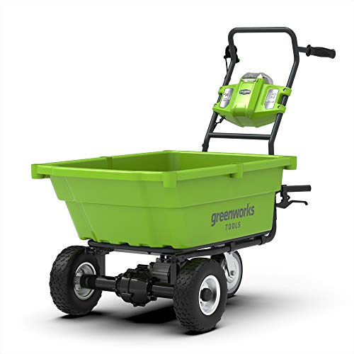 Greenworks Tools 7400007 Carriola con Vasca Ribaltabile, 40 V, Verde