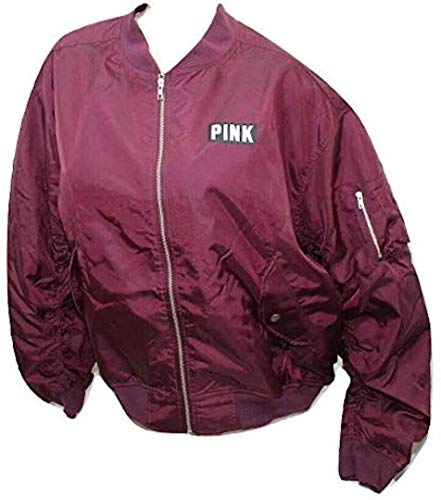 Victoria's Secret Pink Flight Jacket Coat Bomber Jacket Full Zip Maroon Large NWT