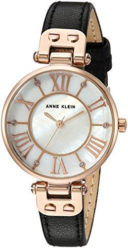 Anne Klein Reloj de pulsera de cuero con detalles de purpuri