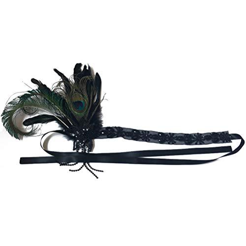 Lurrose Tocado de plumas de pavo real de la boda tocado pelo largo aro decoración de la venda del pelo para dama de honor de la novia (color negro y natural)