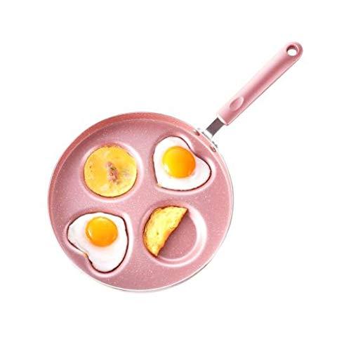 SMEJS Rose Frying Pan - Quatre trous mitigeur Poêle métal Ustensiles de cuisine, Mini à fond plat antiadhésive