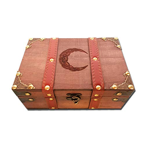 8.3' Wood and Leather Celtic Moon Chest Box, Crescent Wooden Box with Velvet Lining, Vintage Tarot Box and Chalice Set (Box and Chalice and Bell)