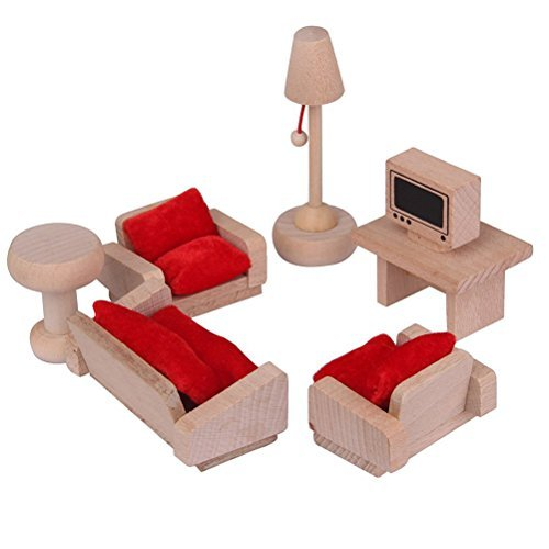 shy shy Wooden Dollhouse Furniture Set with Lounge, Bathroom and Kitchen