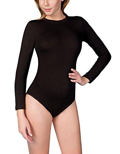 VEDATS Damen Body Langarm Rundhals Bodysuit Top Unterhemd (L, Schwarz)