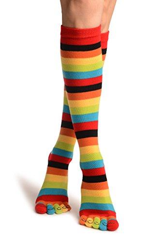 LissKiss Red, Green und Yellow Stripes und Printed Smiles Knee High Toe Socks - Mehrfarbig Zehensocken Einheitsgroesse (37-42)