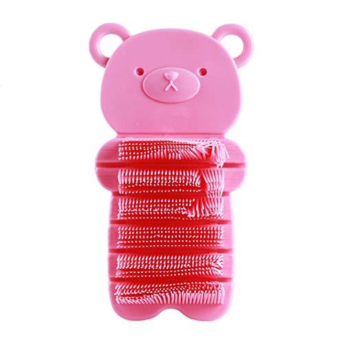 Ogquaton Premium Qualität 2 Farben Bärenform Handbürste Handwaschbürste Handmassagebürste für Kinder Reinigungswerkzeug für Baby Nagel Reinigungsbürste Geschenk für Freunde und Familien, Rosa