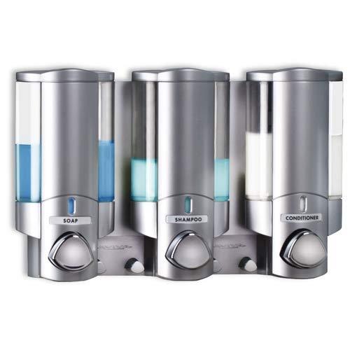 AVIVA Dreifach-Spender für Badezimmer und Dusche, Satin-Silber-Finish, sichere Befestigung - Keine Schrauben erforderlich