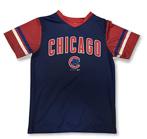 Outerstuff Chicago Cubs Boys Youth Dri Fit T-Shirts (X-Large 16/18, V-Neck Navy)