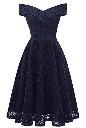 Milano Bride Damen A-Linie Spitze Knielang Abendkleider Kurz Festlich Cocktail Abendkleid-M-Royalblau