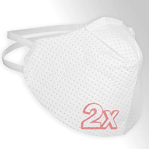2er-Pack Mund und Nasenschutz, Mundschutz Maske in weiß | sehr leicht & weich, Keine erschwerte Atmung, Earloop-Design | reinigbar und wiederverwendbar, Behelfs-Maske…