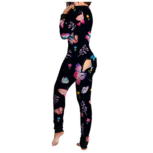 CHMORA Mameluco para mujer, manga larga, estampado floral, botón frontal, funcional, con solapa, para adultos, pijamas, mameluco de pijama para mujer