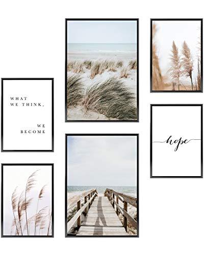 Heimlich® Premium Poster Set | Stilvolles Set mit passenden Bilder als Wohnzimmer Deko | 2 x DIN A3 & 4 x DIN A4 - ca. 30x42 & 21x30 | ohne Bilderrahmen » Dünen Strand Meer «