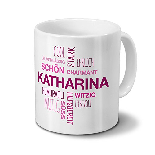 printplanet Tasse mit Namen Katharina Positive Eigenschaften Tagcloud - Pink - Namenstasse, Kaffeebecher, Mug, Becher, Kaffeetasse