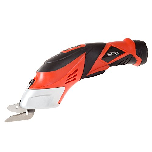 Stalwart - 75-PT1022 Cordless Power Scissors With Two Blades - Fabric, Leather, Carpet and Cardboard Cutter- 3.6V NiCad Lithium Ion Rechargeable Battery By Red Red