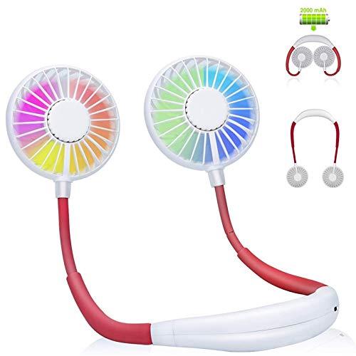 ghx Tragbarer Ventilator, Halsventilator, Wiederaufladbarer Tragbarer Nackenbügel Ventilator, Schreibtisch Ventilator, Ventilator Mit Bügel für Den Nacken, 3 Geschwindigkeiten, LED-Licht, Weiß