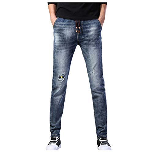 KaloryWee Herren Jeans geradem Loch Tunnelzug, Lange Hosen Moderne Jeans für männer,Skinny Stretch Jeans Pants für Herren,Cargo Sommerhosen trainerhosen online Shop