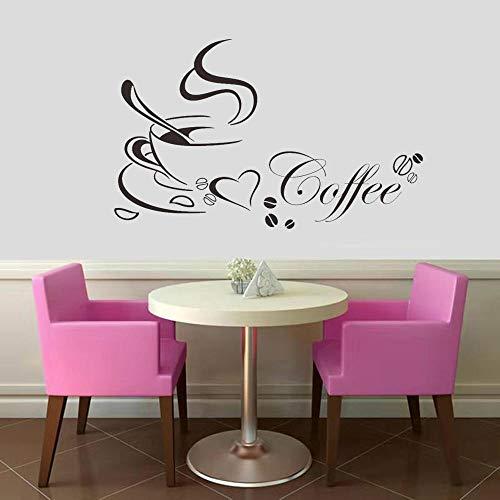 Koffiekopje Met Hart Vinyl Quote Restaurant Keuken Verwijderbare Muurstickers Diy Home Decor Kunst Aan De Muur Mural 43 * 70Cm