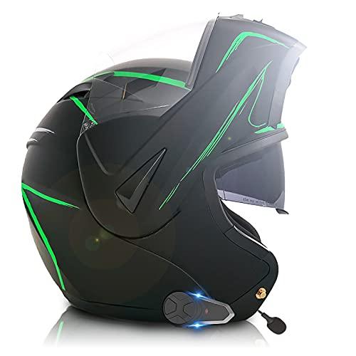 Casco de motocicleta Bluetooth, casco modular con visera doble, certificación DOT/ECE, radio FM integrada, conversación frontal y trasera 2-3 personas 800M 4,M