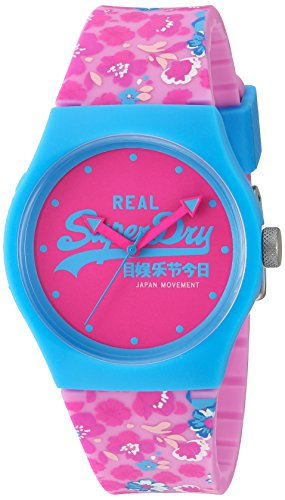 Superdry Damen Analog Quarz Uhr mit Silikon Armband SYL-SYL169UP