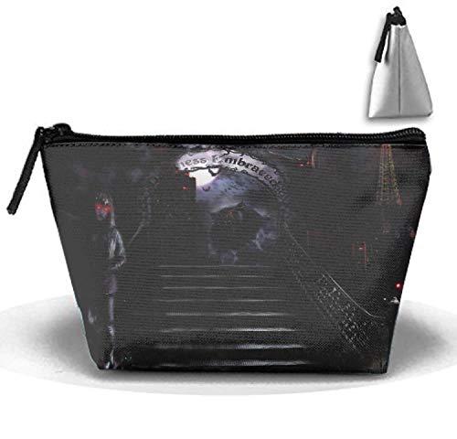 Bolsas de cosméticos Bolsa de Maquillaje portátil de Viaje Mujer gótica Oscura Hombre Lobo Hombre Bolsa de Embrague con Cremallera