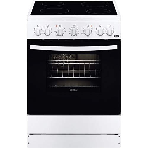 Zanussi ZCV65201WA Cocina independiente 85 x 60 x 60 cm, con placa vitrocerámica de 4 zonas, horno y grill eléctricos, multifunción de 5 programas, Clase A-10%, Blanco