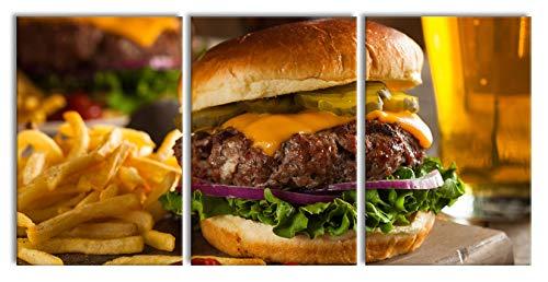 Juicy chili cheeseburgerXXL canvasbeeld 3 deel | 240x120cm volledige maatregel | Wanddecoraties | Kunstdruk