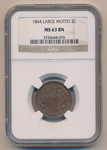 1864 P Two Cent Piece Two Cent MS63 Brown NGC