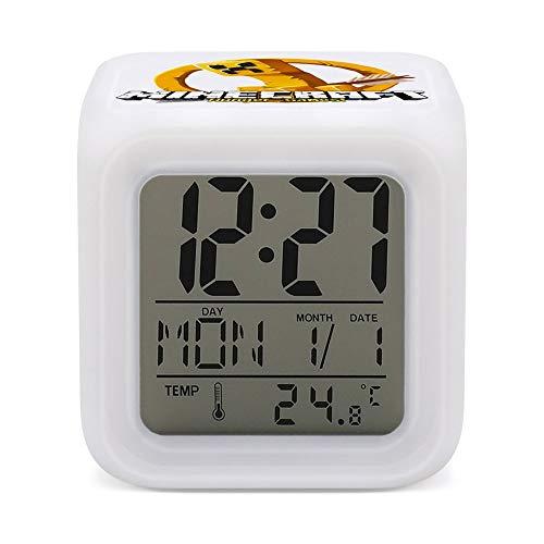 M-inecraftt - Reloj despertador digital con retroiluminación colorida, con forma geométrica moderna, con fecha, calendario de temperatura, adecuado para estudiantes, niños y niñas