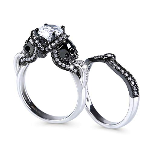 Jeulia 3.68 Carat Twist Skull Rings for Women Sterling Silver Two Tone Twist Band Rings White Diamond Bridal Ring Set Black Plated Engagement Promise Rings with Jewelry Gift Box (7)