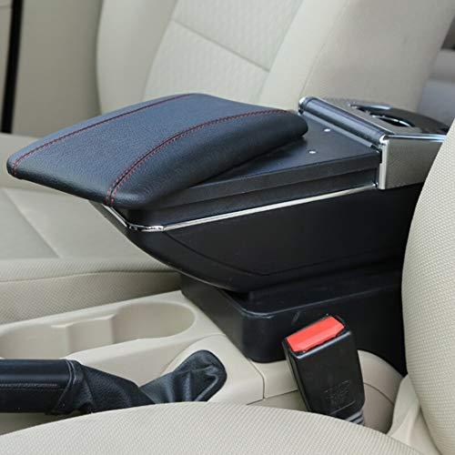 Auto-opbergbox voor armleuningen, auto-organizer, ABS-kunststof, met leren envelop, accessoires voor Kia K2 2015/2017  Blanco Y Gris