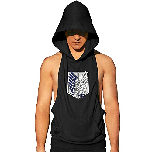 Anime-Attack-on-Titan Mens Sleeveless Hoodie Casual Athletic T Shirts Gym Workout Tank Tops