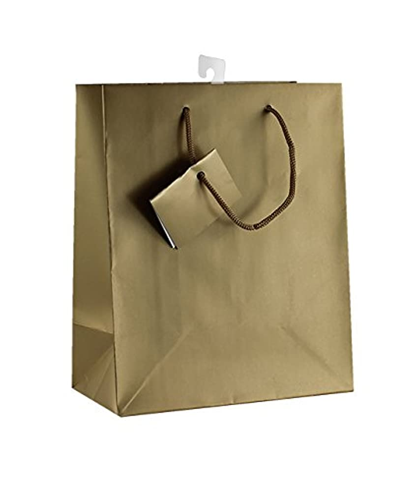 12-PC Solid Color Gift Bags, Matt Laminated, Gold Color
