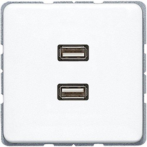 Jung MACD1153WW stopcontact, 2 x USB, alpinewit
