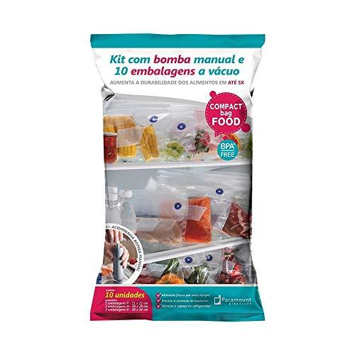 Conjunto de 10 Peças com Embalagens e Bomba a Vácuo Compact Food em Polipropileno Paramount