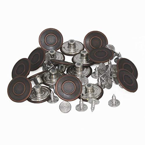 trimmen Shop Ersatz Jeans Buttons 20mm in bronze dunkel aus Messing rostfrei–DIY oder Fix mit Hammer, Messing, 10 Stück