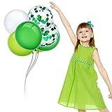 JWTOYZ 72 Stück Luftballons Grün Blau Rosa Weiß Konfetti Ballons mit Band für Geburtstag, Babyparty, Hochzeit - Grün - 5